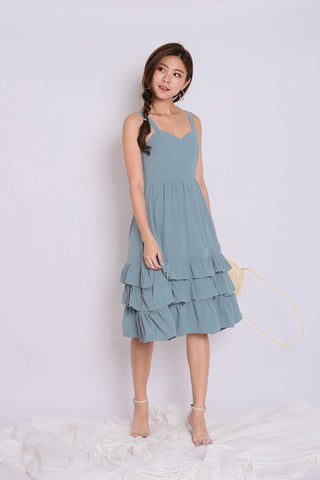 *TPZ* (PREMIUM) YARA SWEETHEART RUFFLES DRESS IN DUSTY CYAN