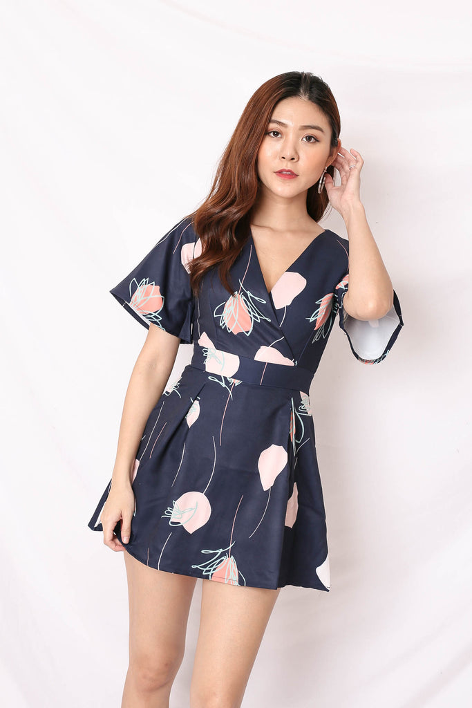*TPZ* (PREMIUM) EMMER DRESS ROMPER IN ROSE ABSTRACT NAVY
