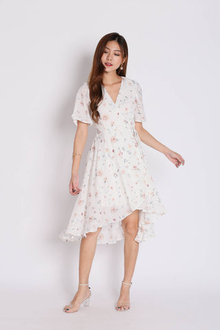 *TPZ* (PREMIUM) WANDERER FLORAL WRAP DRESS IN WHITE