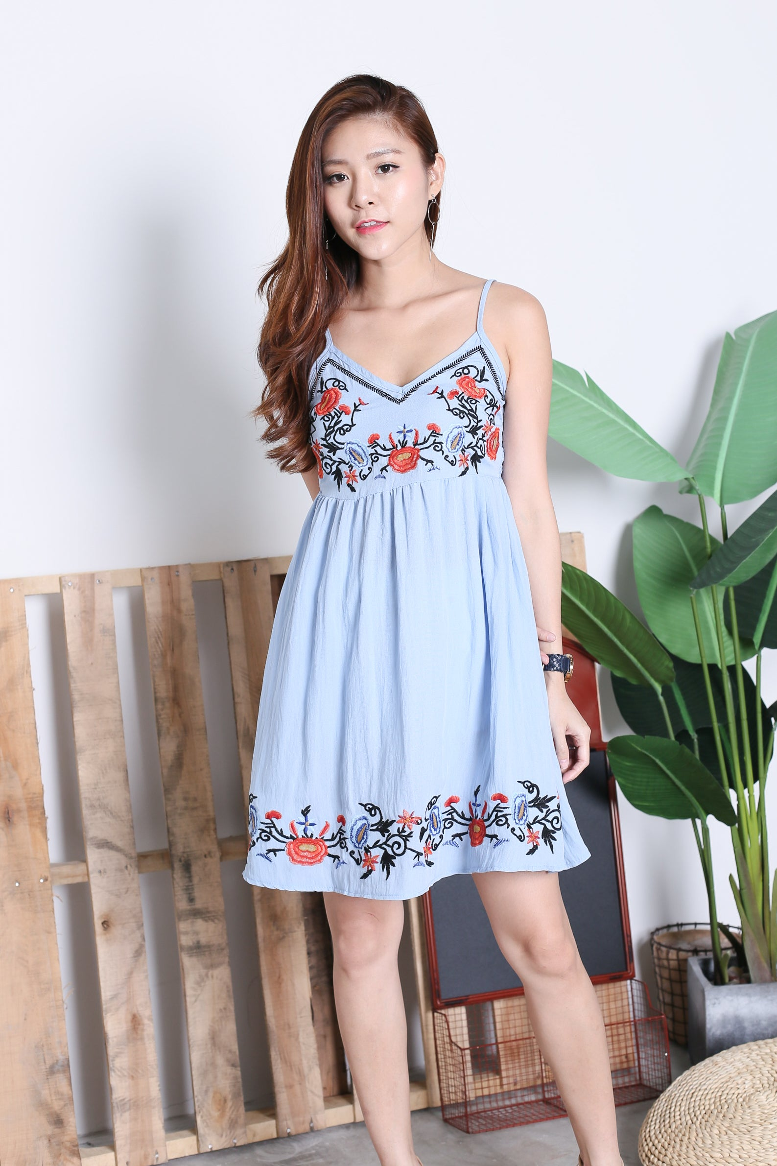 SOLEIL EMBROIDERY DRESS IN CORNFLOWER BLUE
