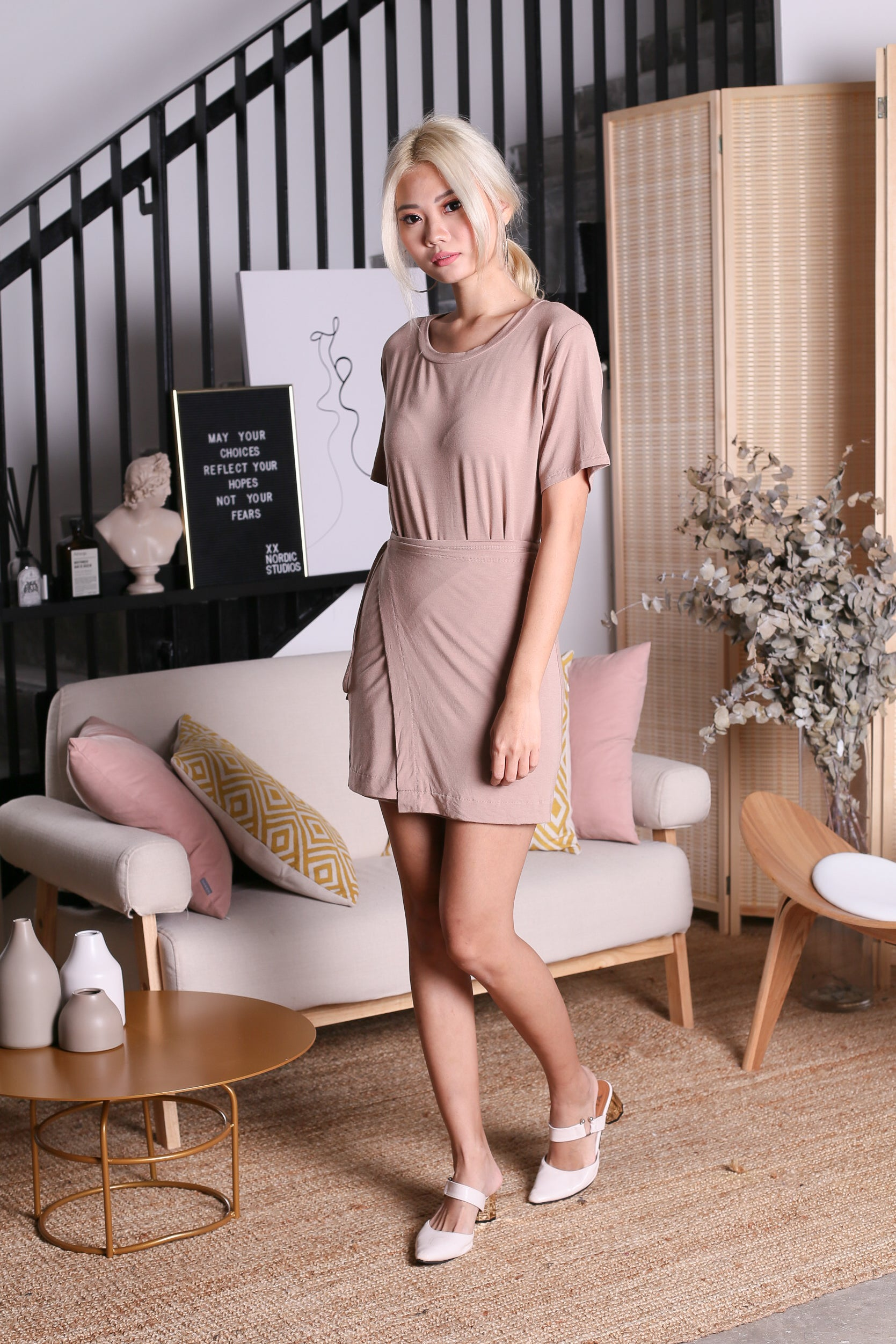 OFF DUTY WRAP AROUND DRESS IN TAUPE