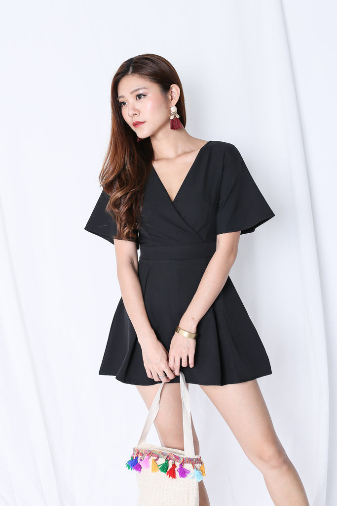*TPZ* (PREMIUM) EMMER DRESS ROMPER IN BLACK - TOPAZETTE