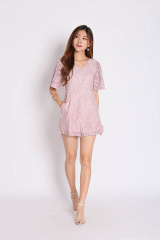 *TPZ* (PREMIUM) MIKAYLA LACE ROMPER IN DUSTY PINK