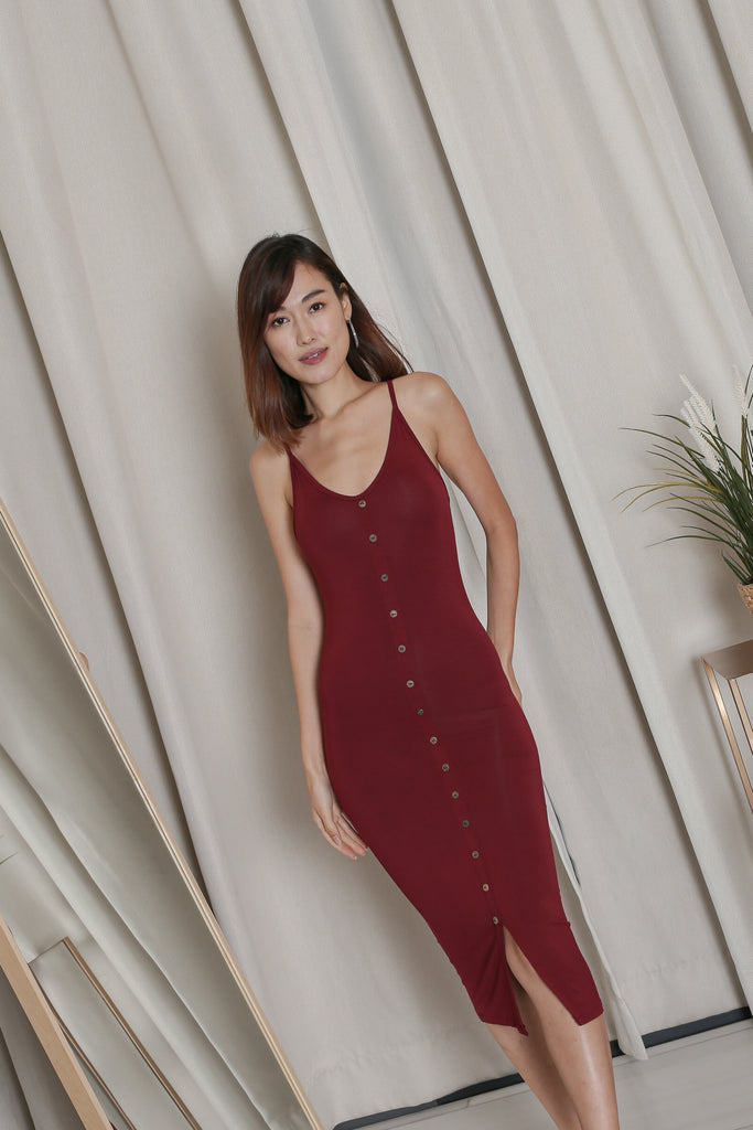 LISDY BUTTON DOWN MIDI DRESS IN BURGUNDY