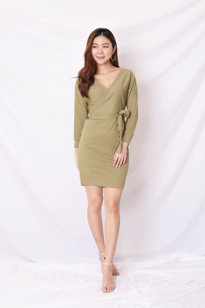 *BACKORDER* LIZY KIMONO WRAP DRESS IN MATCHA GREEN