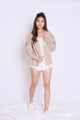 ALIZ EMBROIDERY CARDIGAN IN TAUPE