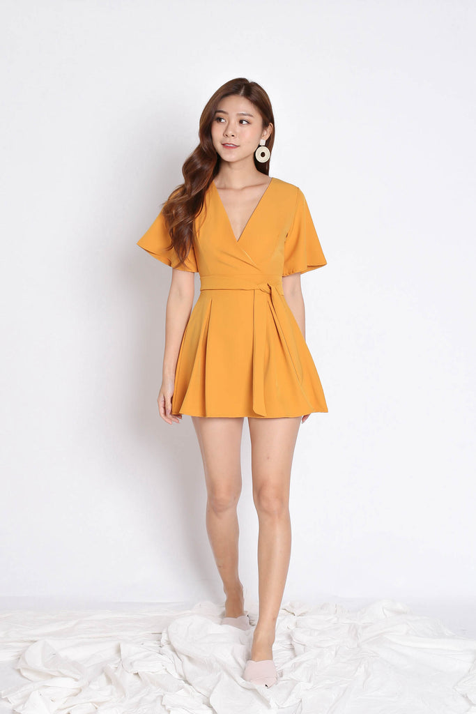 *TPZ* (PREMIUM) EMMER DRESS ROMPER IN MARIGOLD - TOPAZETTE