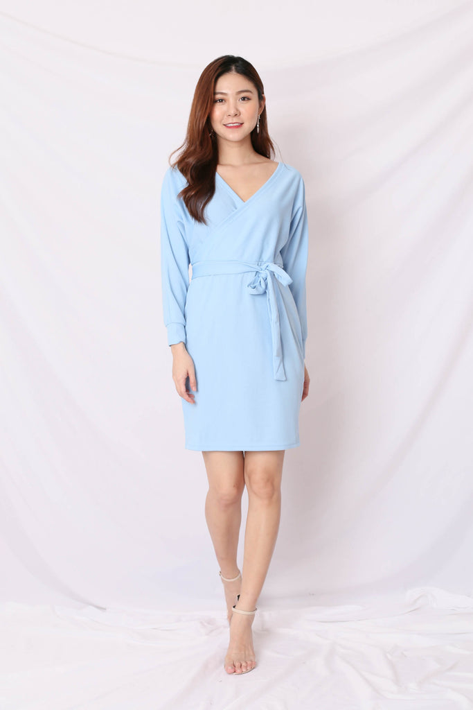 LIZY KIMONO WRAP DRESS IN BABY BLUE