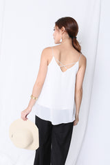 CRISS CROSS SPAG TOP IN WHITE