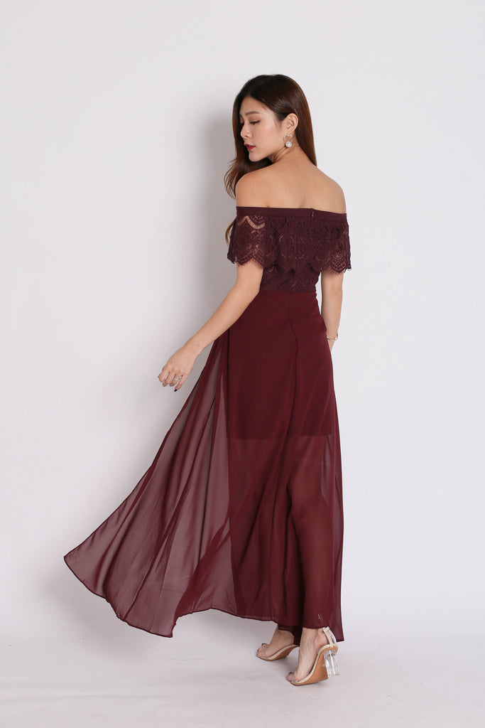 *TPZ* (PREMIUM) HOPE OFF SHOULDER LACE MAXI IN PLUM - TOPAZETTE