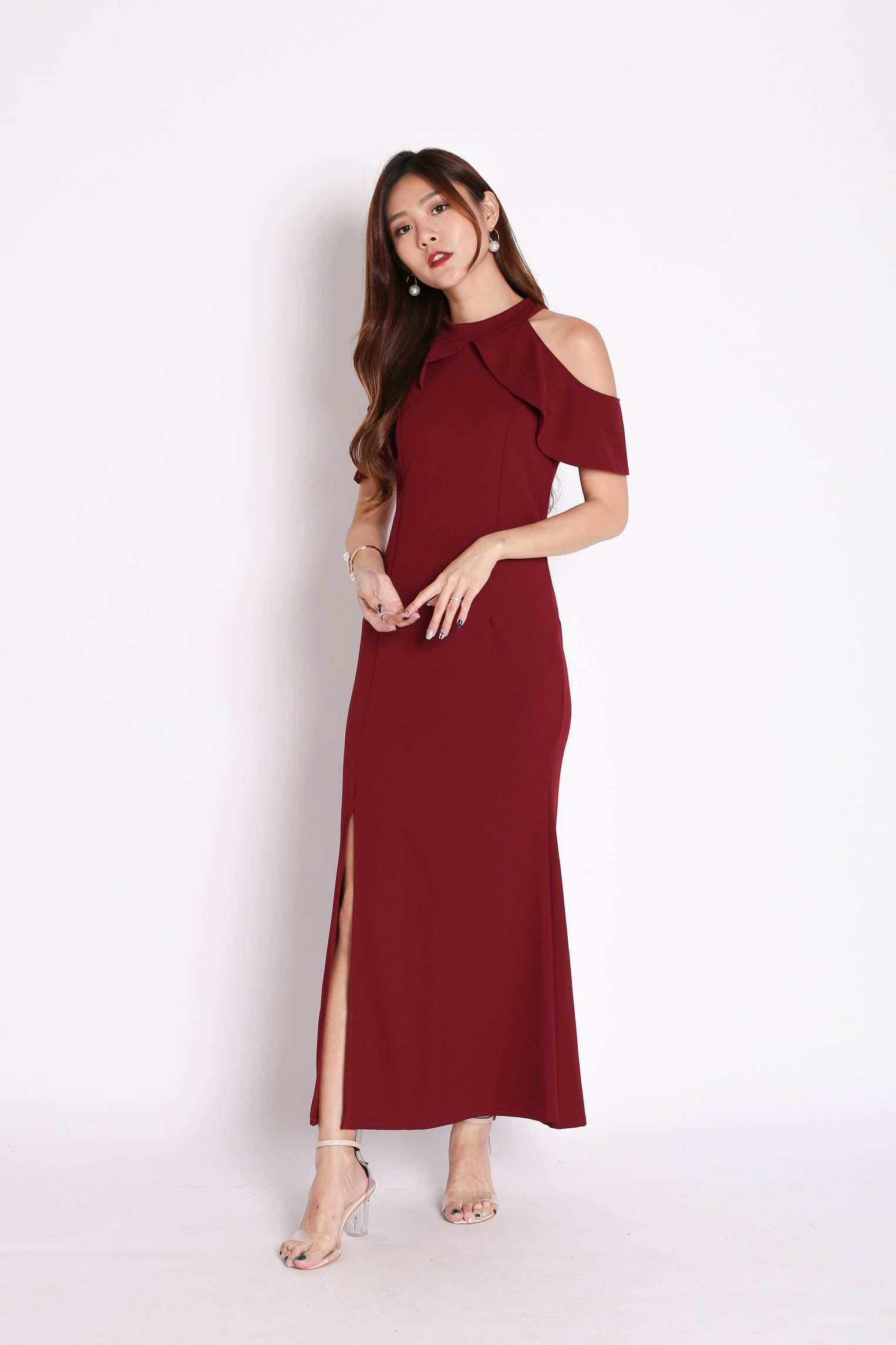 DILYS RUFFLES TWO WAYS DRESS IN BURGUNDY