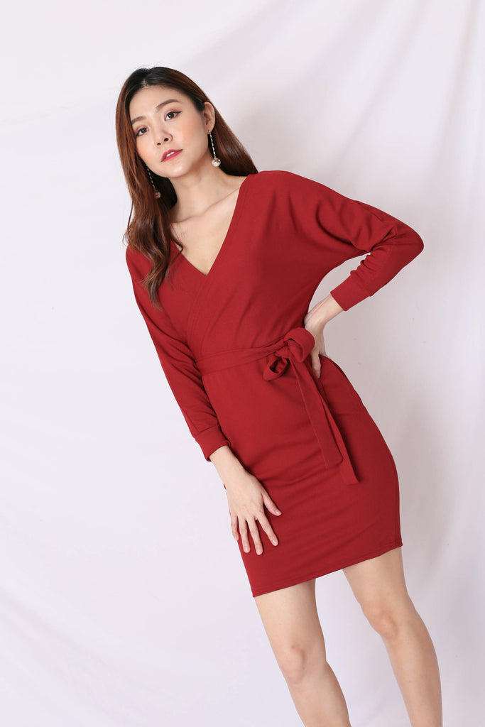 LIZY KIMONO WRAP DRESS IN WINE