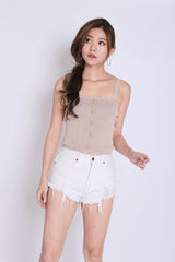 BUTTON KNIT TOP IN TAUPE