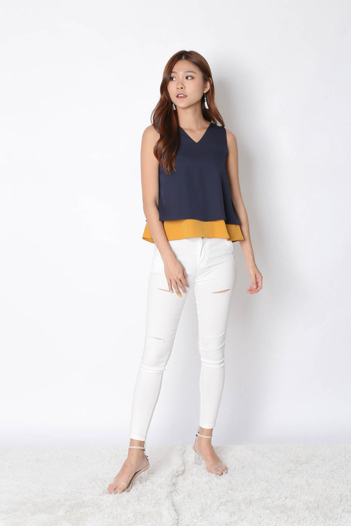*TPZ* (PREMIUM) SKYE REVERSIBLE 4 WAYS TOP (NAVY/ MUSTARD) - TOPAZETTE