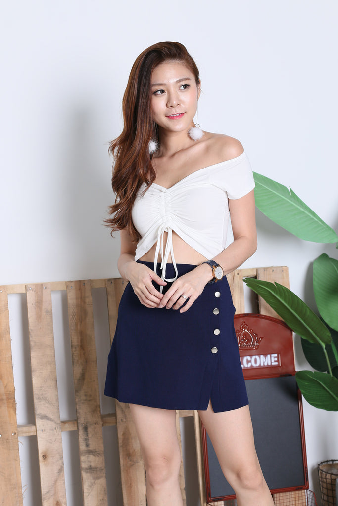 *BACKORDER* BASIC SCRUNCH TOP IN WHITE - TOPAZETTE