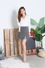 MILITARY BUTTONED KNIT SKIRT IN GREY