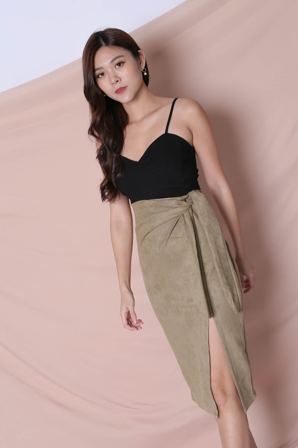 RAYLA SUEDE SKIRT IN SAGE GREEN - TOPAZETTE