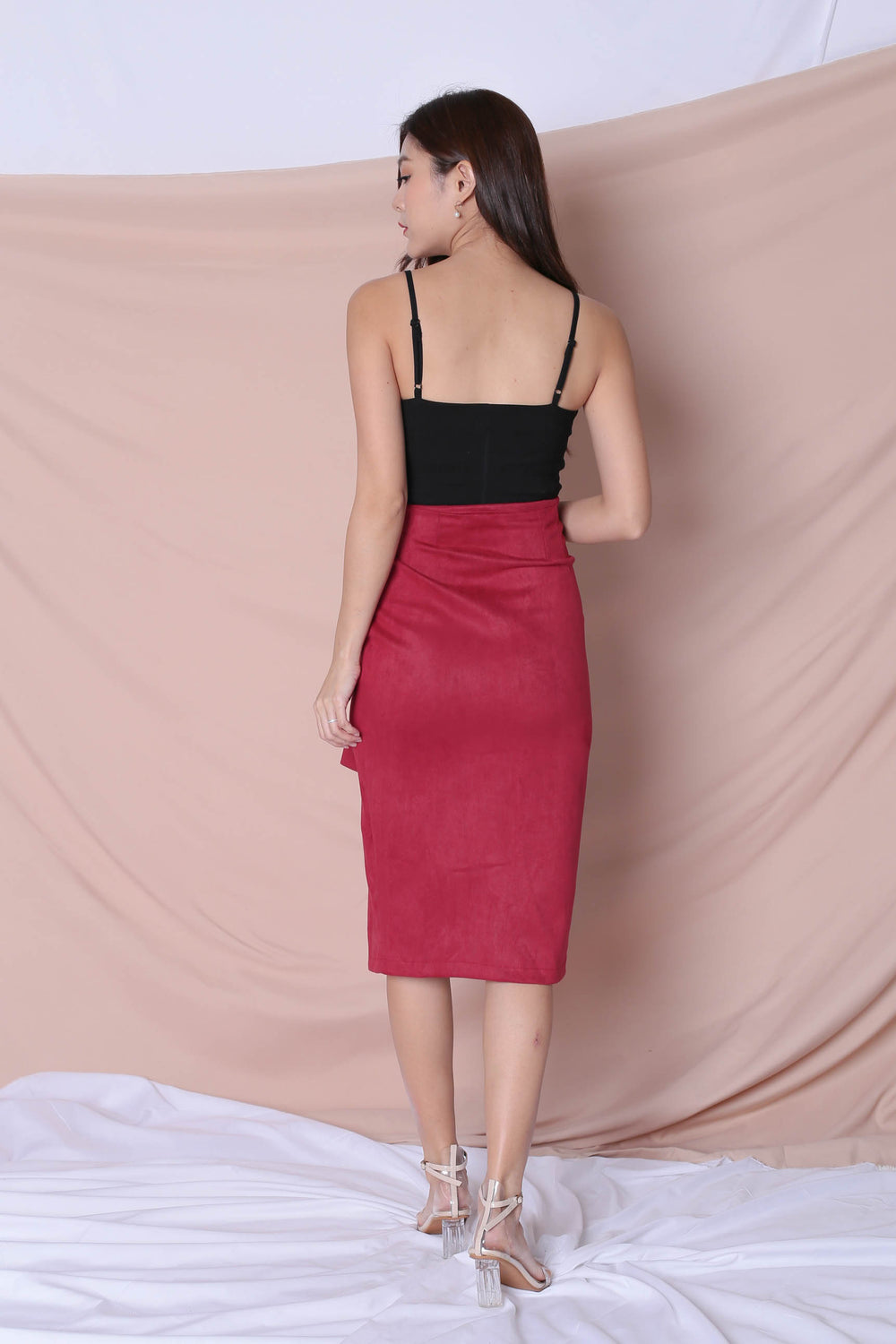 RAYLA SUEDE SKIRT IN CANDY PINK - TOPAZETTE