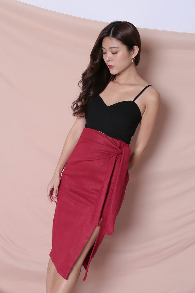 RAYLA SUEDE SKIRT IN CANDY PINK