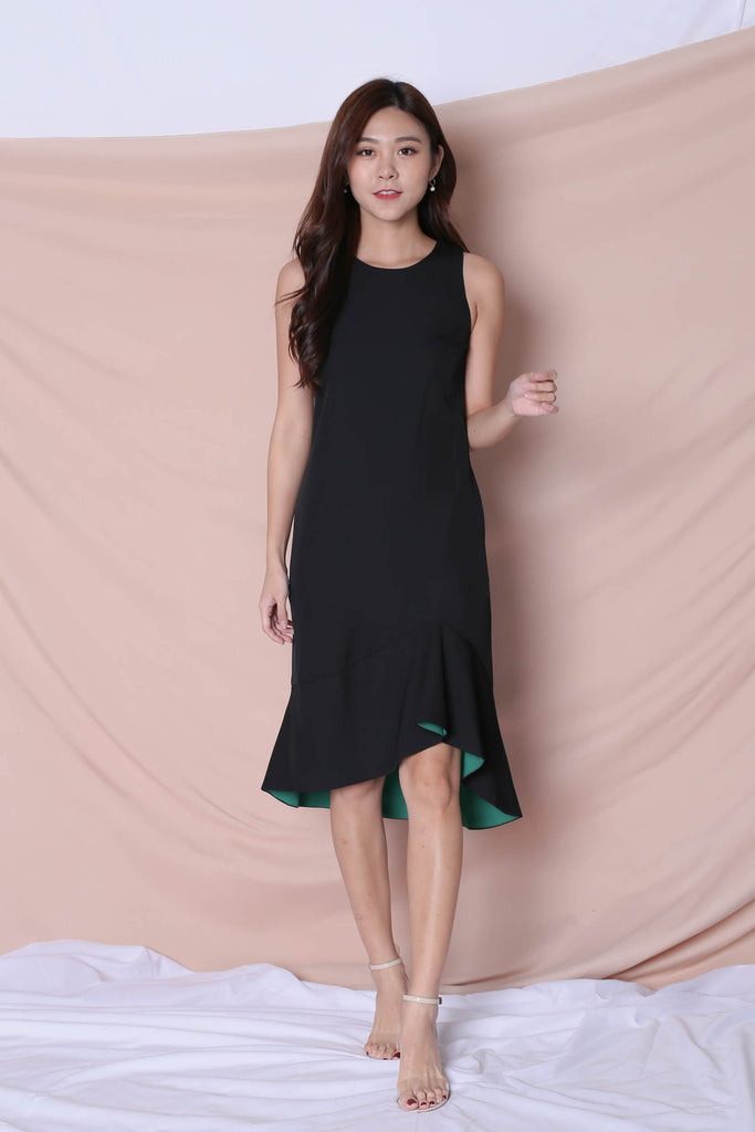 *TPZ* (PREMIUM) KALLYN ASYMMETRICAL DRESS (BLACK/ GREEN) - TOPAZETTE