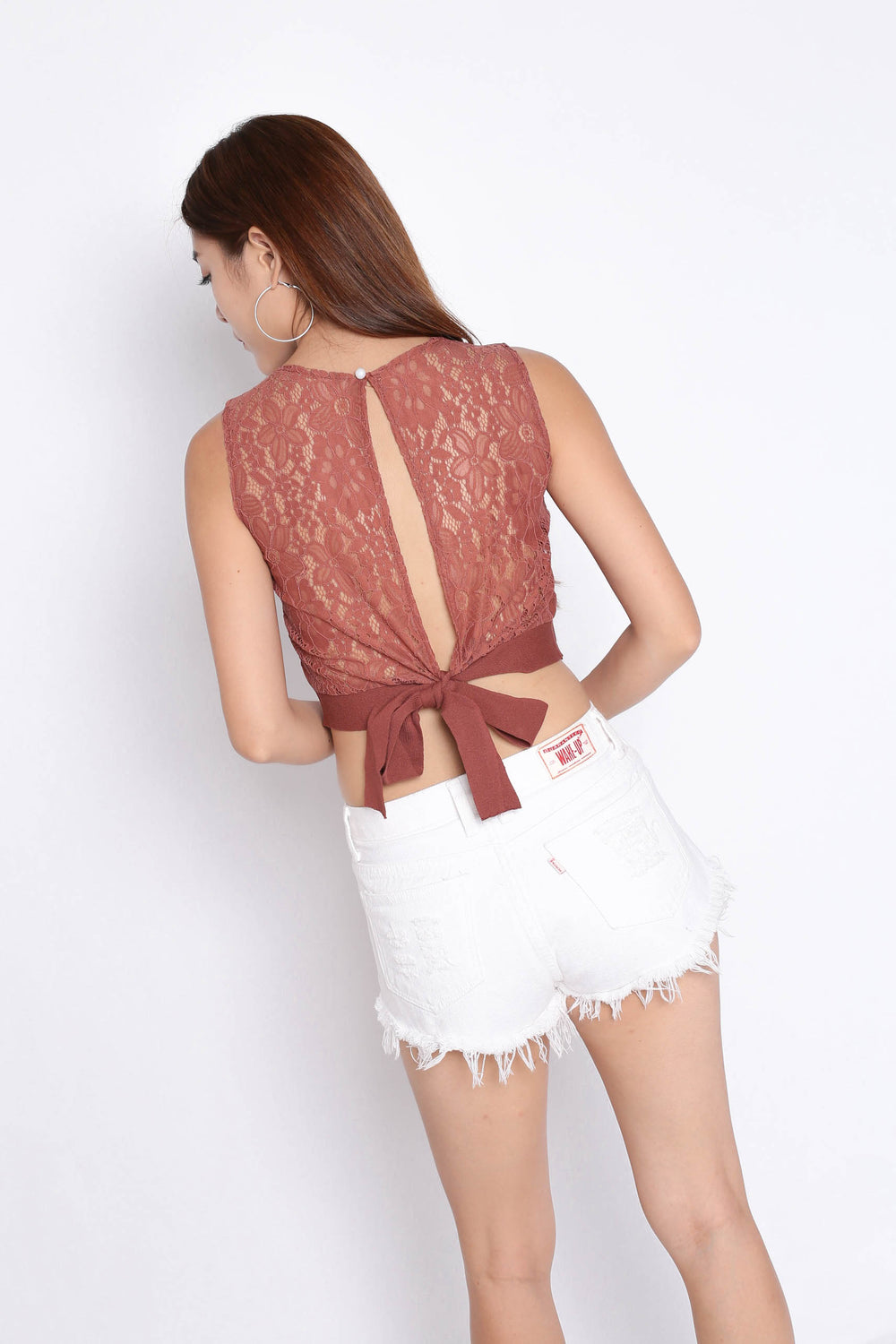 XANDRIA OPEN BACK LACE KNIT TOP IN DUSTY CORAL