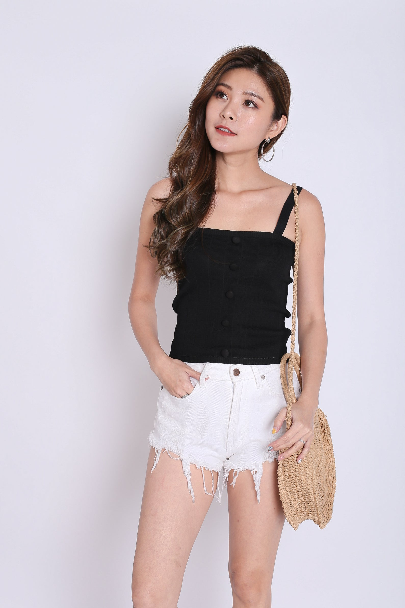 BUTTON KNIT TOP IN BLACK