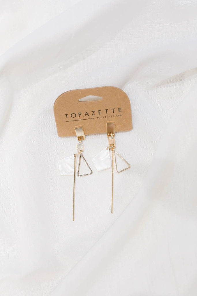 ELENA MARBLE GEOMETRIC EARRINGS - TOPAZETTE
