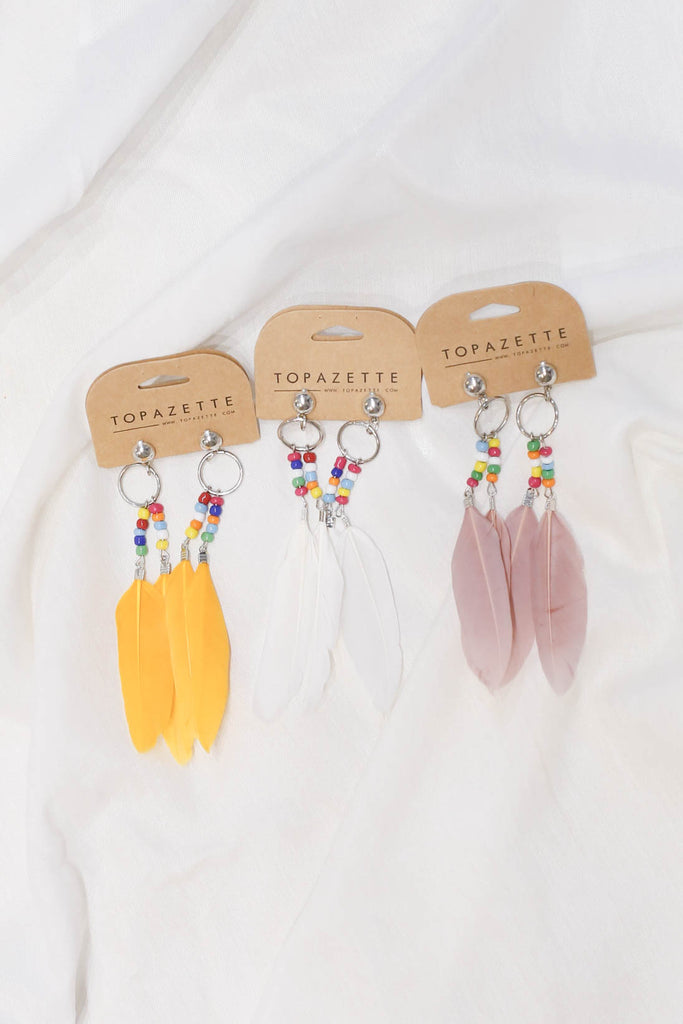 BOHO FEATHER BEADS EARRINGS - TOPAZETTE