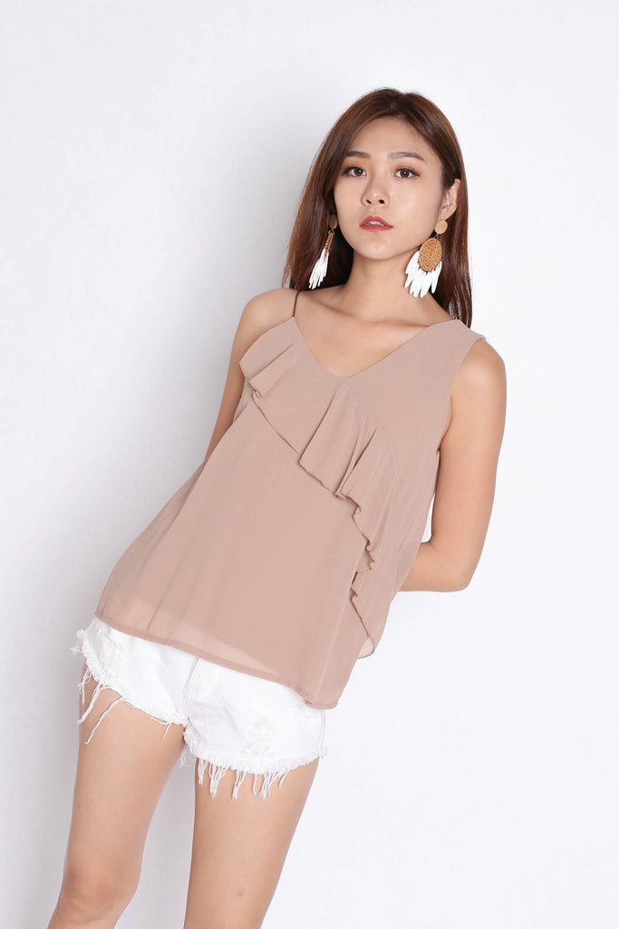BASIC DUO STRAP RUFFLES TOP IN TAUPE - TOPAZETTE