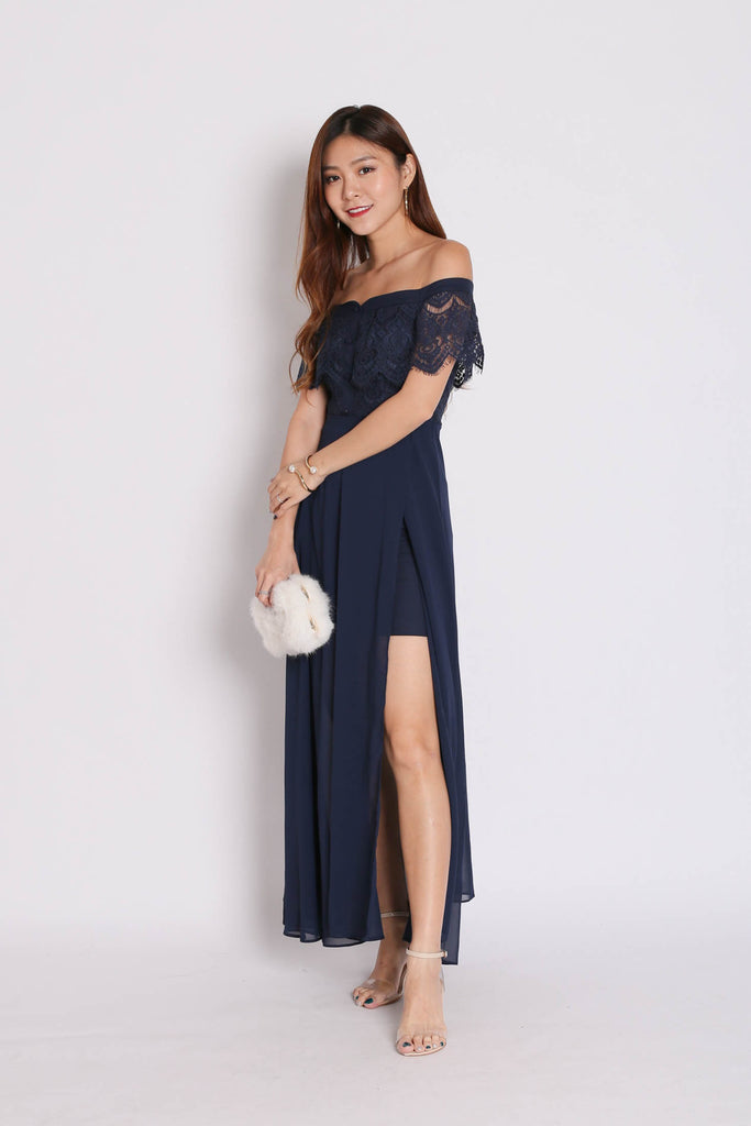 *TPZ* (PREMIUM) HOPE OFF SHOULDER LACE MAXI IN NAVY - TOPAZETTE