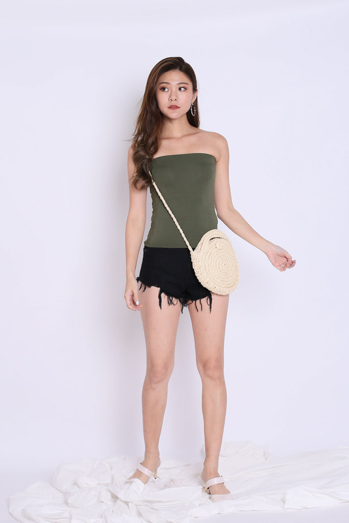 THE VERY BASIC TUBE TOP IN ARMY GREEN - TOPAZETTE