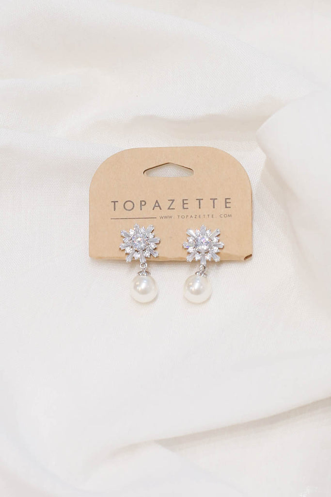 DIAMONTE PEARL STUD EARRINGS - TOPAZETTE