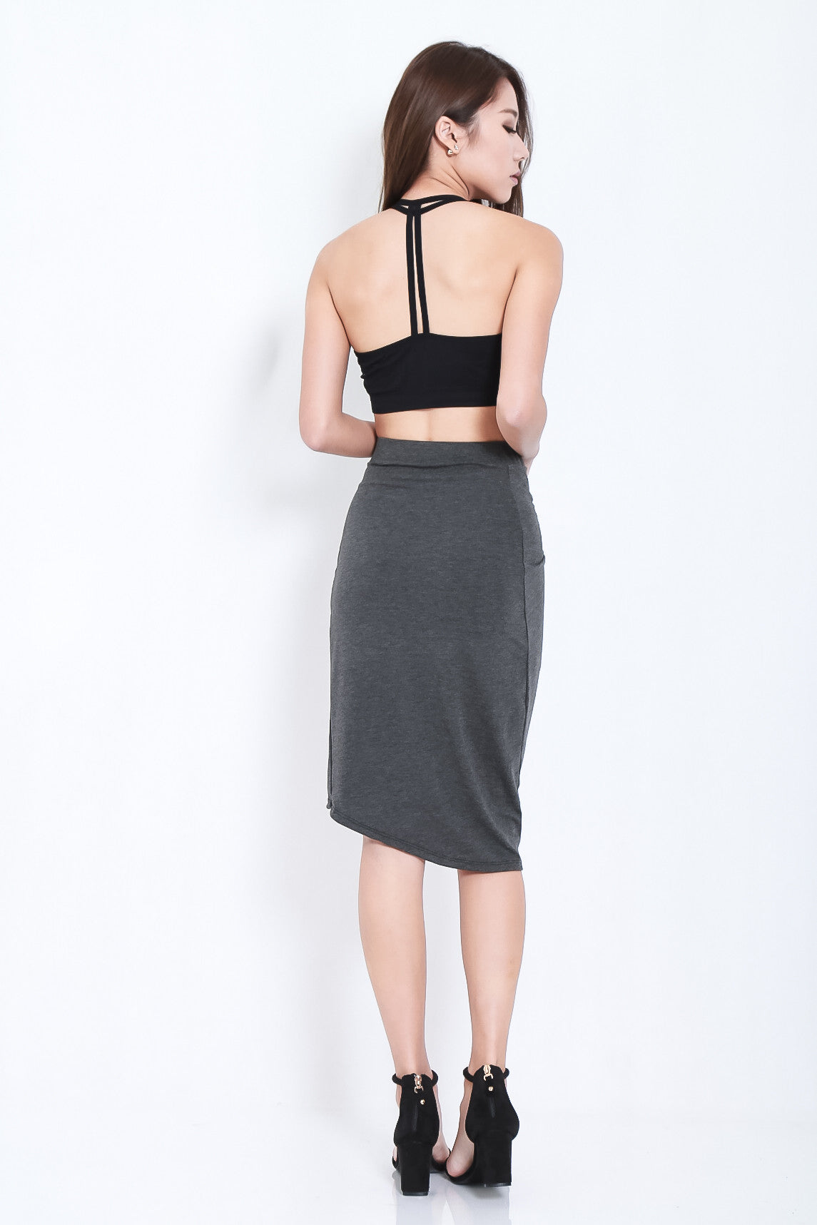 BY YOUR SIDE DRAPE SKIRT IN DARK GREY - TOPAZETTE