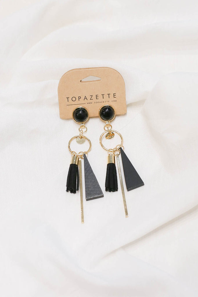 CLAIRE TASSEL GEOMETRIC EARRINGS - TOPAZETTE