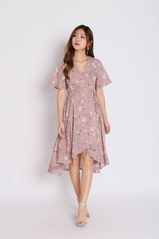 *TPZ* (PREMIUM) WANDERER FLORAL WRAP DRESS IN TAUPE PINK