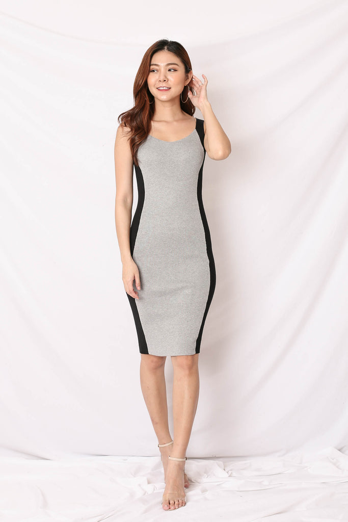 *BACKORDER* KNIT CONTRAST PANEL DRESS IN GREY/ BLACK