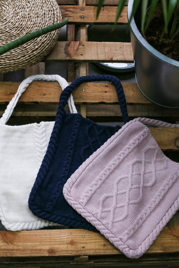 MYN CABLE KNIT TOTE BAG - TOPAZETTE