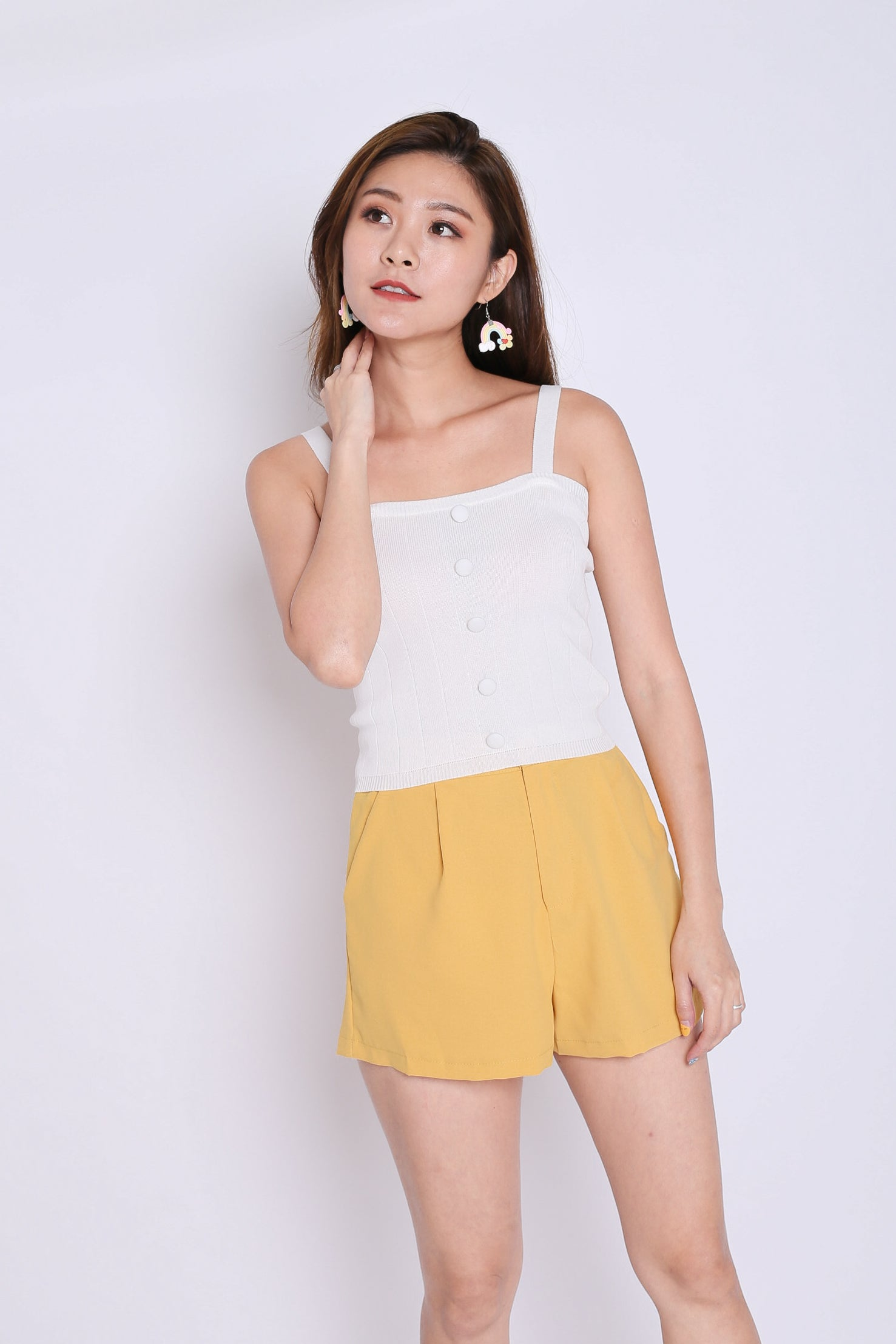 BUTTON KNIT TOP IN WHITE