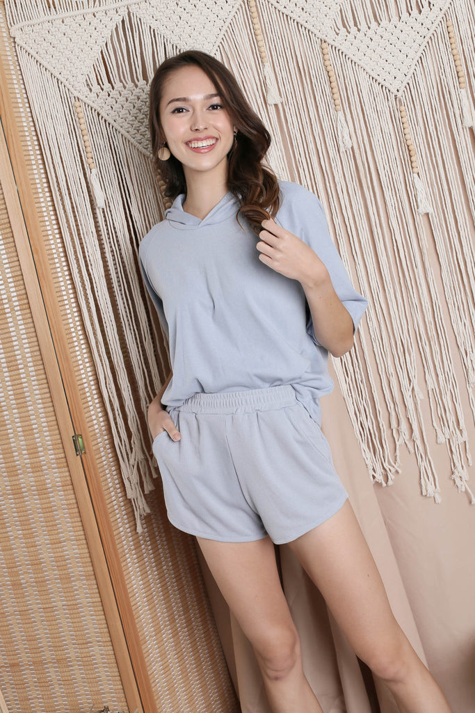 IMANI 2 PC HOODIE AND SHORTS SET IN BABY BLUE