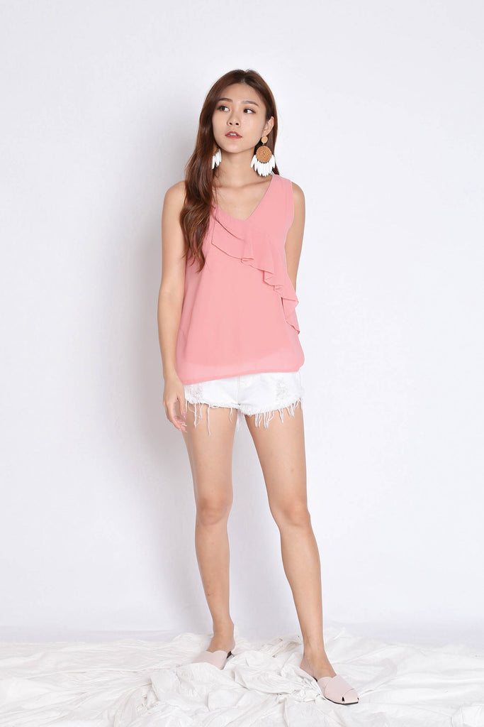 BASIC DUO STRAP RUFFLES TOP IN PINK - TOPAZETTE