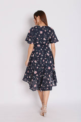 *TPZ* (PREMIUM) WANDERER FLORAL WRAP DRESS IN NAVY