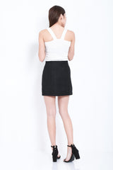 INNIS FELT SKIRT IN BLACK - TOPAZETTE