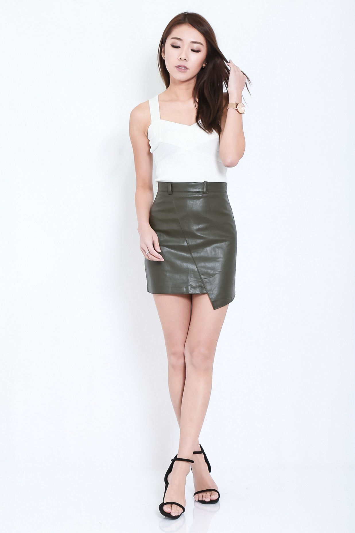 LEWIS ASYMMETRICAL LEATHER SKIRT IN OLIVE - TOPAZETTE