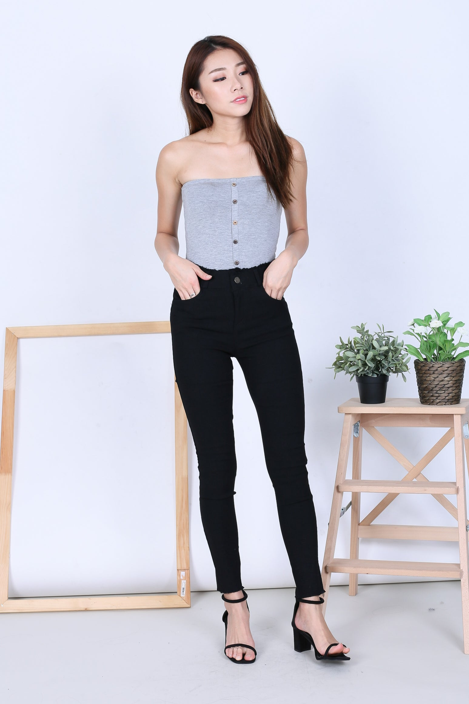 94f3491fda BASIC FAUX BUTTON TUBE TOP IN LIGHT GREY – TOPAZETTE