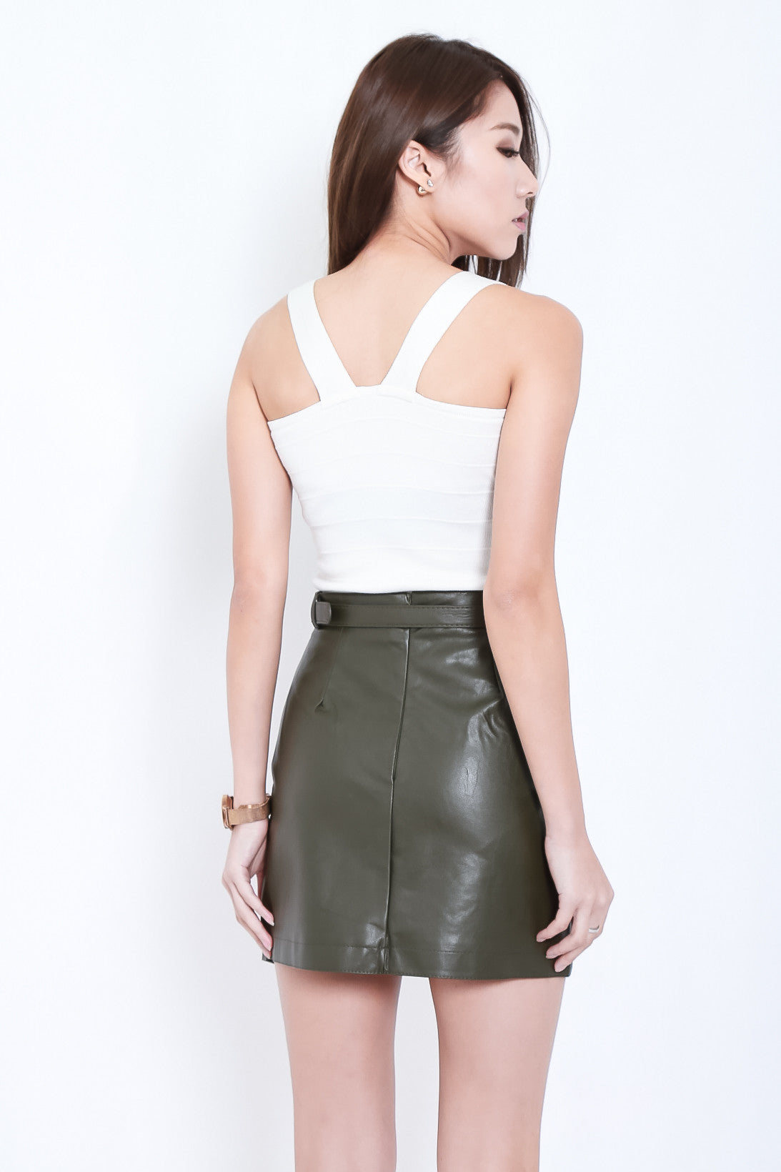 LEWIS ASYMMETRICAL LEATHER SKIRT IN OLIVE