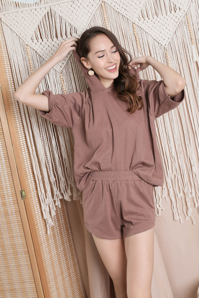 IMANI 2 PC HOODIE AND SHORTS SET IN BROWN