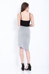 BY YOUR SIDE DRAPE SKIRT IN LIGHT GREY - TOPAZETTE
