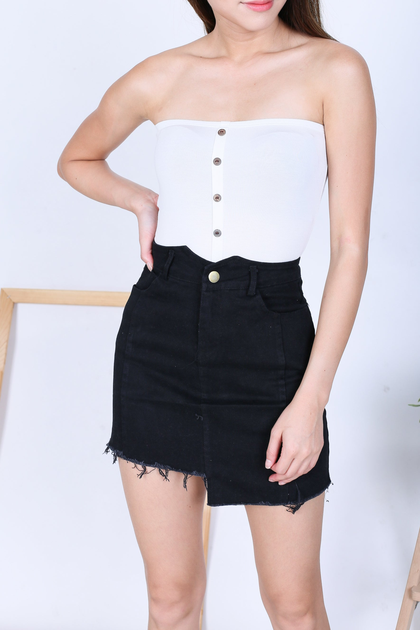 41fc56f09a BASIC FAUX BUTTON TUBE TOP IN WHITE – TOPAZETTE