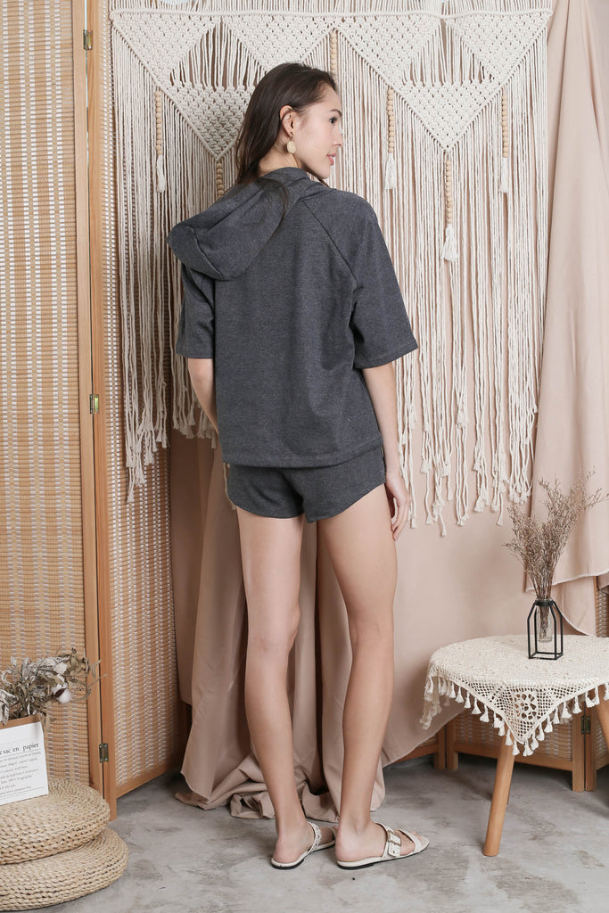 IMANI 2 PC HOODIE AND SHORTS SET IN DARK GREY