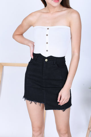 *BACKORDER* BASIC FAUX BUTTON TUBE TOP IN WHITE